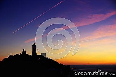 Silhouette of Monsaraz village.