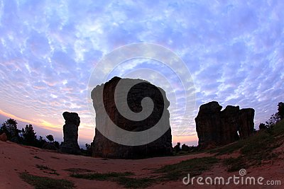 Silhouette of Mor Hin Khao, Thailand stonehenge