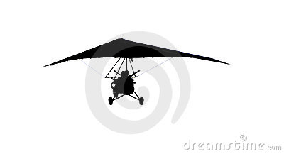 Silhouette of moto hang glider