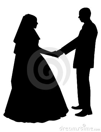 Silhouette of newly-weds