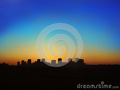 Silhouette of night city
