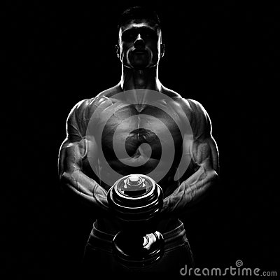 Free Silhouette Of A Bodybuilder Pumping Up Muscles With Dumbbell Stock Images - 57465314
