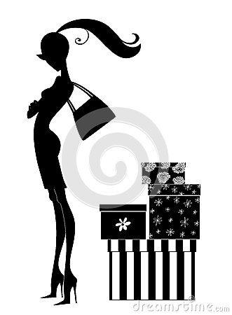 Free Silhouette Of A Chic Young Woman Shopping Stock Images - 35797144
