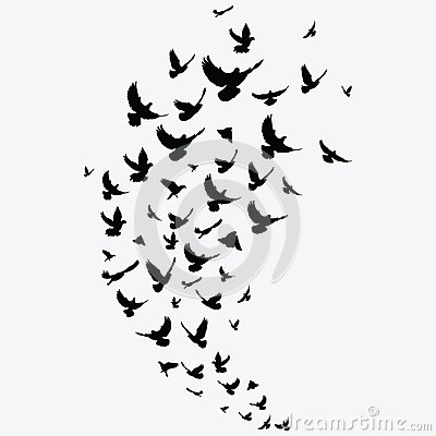 Free Silhouette Of A Flock Of Birds. Black Contours Of Flying Birds. Flying Pigeons. Tattoo. Royalty Free Stock Photo - 119888055