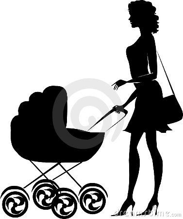 Free Silhouette Of A Lady Pushing A Pram Royalty Free Stock Image - 1251436