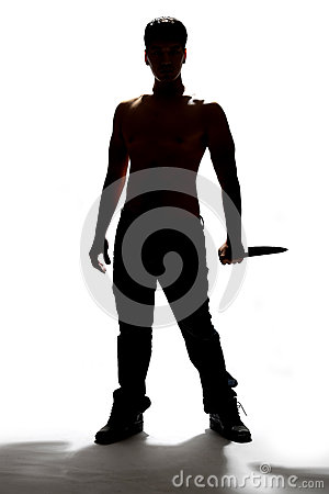 Free Silhouette Of A Man Holding Knife Stock Photos - 60604253