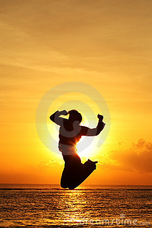 Free Silhouette Of A Person Jumping Stock Photo - 431990