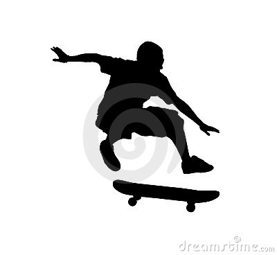 Free Silhouette Of A Skateboarder Jumping Stock Images - 10179254