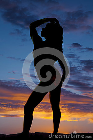 Free Silhouette Of A Woman In A Bikini Side Hand On Head And Hip Royalty Free Stock Photos - 60545928