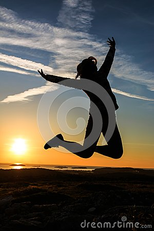 Free Silhouette Of A Woman Jumping Stock Photos - 105282853