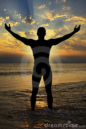 Free Silhouette Of Athletic Men To The Sea At Sunset Royalty Free Stock Image - 19067976