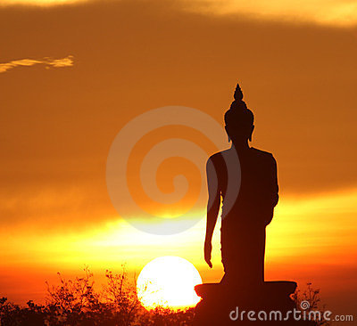 Free Silhouette Of Buddha Statue Royalty Free Stock Images - 23768649