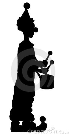 Free Silhouette Of Clown Royalty Free Stock Image - 7596286