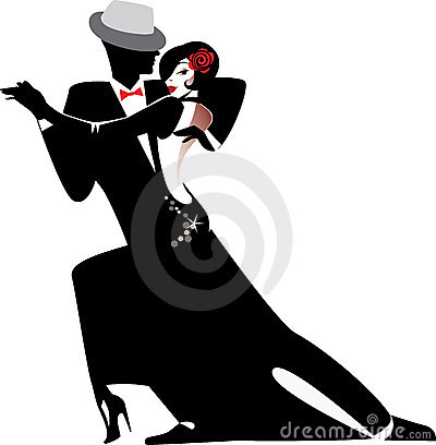 Free Silhouette Of Couple Dancing Tango Stock Images - 22535854