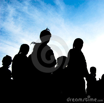 Free Silhouette Of Family Stock Image - 3445021