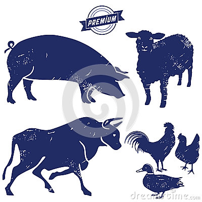 Free Silhouette Of Farm Animals Royalty Free Stock Photos - 67091008