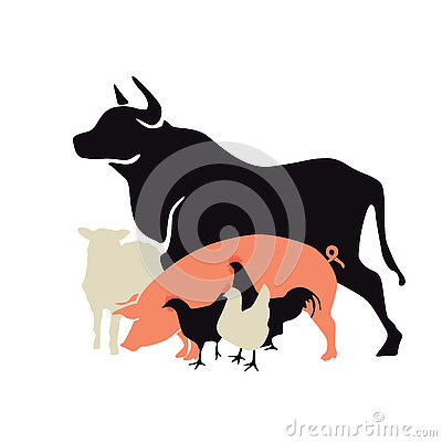 Free Silhouette Of Farm Animals Royalty Free Stock Photography - 74127997