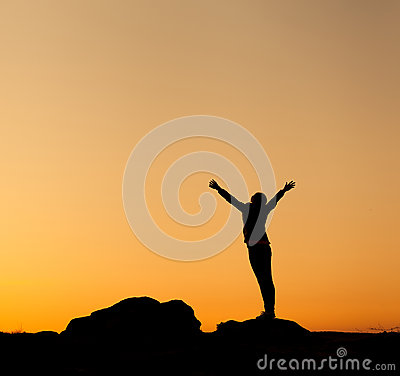 Free Silhouette Of Happy Young Woman Against Beautiful Colorful Sky. Stock Image - 52777331