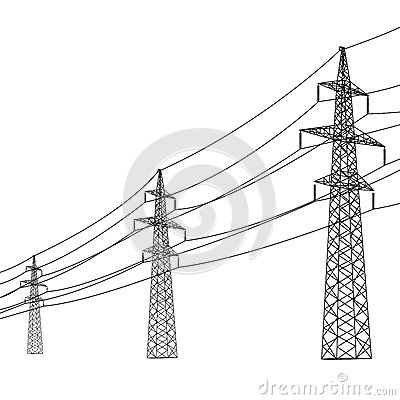 Free Silhouette Of High Voltage Power Lines. Stock Image - 31902891
