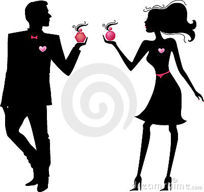 Free Silhouette Of Man And Woman With Perfumes Stock Photography - 16286112