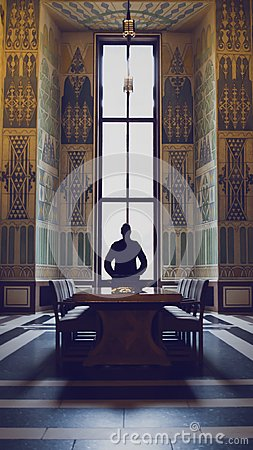 Free Silhouette Of Man In A Grand Hall Stock Photography - 104747612