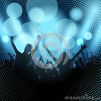 Free Silhouette Of Party Crowd On A Bokeh Lights Background Stock Photos - 108126583