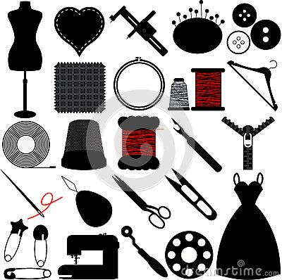 Free Silhouette Of Sewing Tools Royalty Free Stock Photography - 28151697