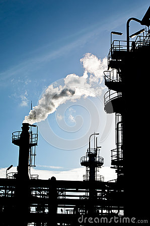 Free Silhouette Of Smokestack In Petrochemical Plant Royalty Free Stock Image - 25771776