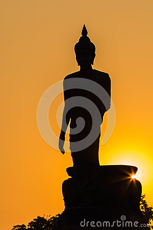 Free Silhouette Of Standing Big Buddha Statue During Sunset Royalty Free Stock Images - 49610089
