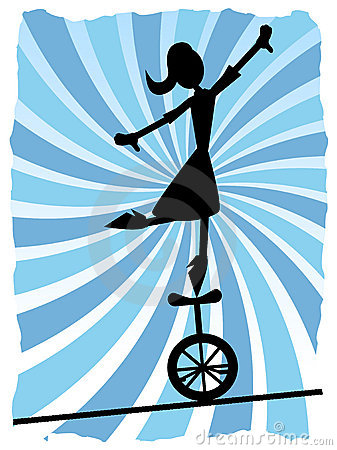 Free Silhouette Of Woman Balancing On Unicycle On Rope Stock Image - 16705201
