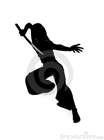Free Silhouette Of Woman With A Japanese Sword Stock Photos - 14193233