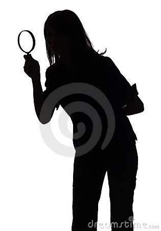 Free Silhouette Of Woman With Magnifying Glass Stock Photos - 1282613
