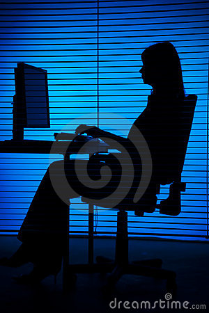 Free Silhouette Of Woman Working Computer (blind) Stock Photo - 1282690