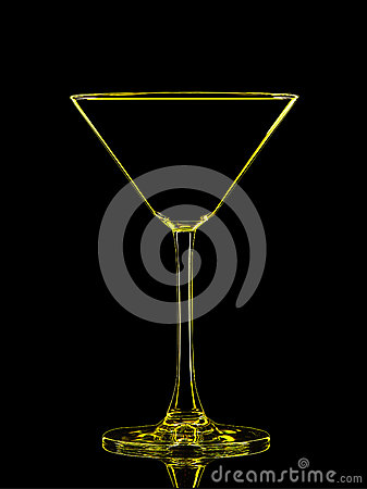 Free Silhouette Of Yellow Martini On Black Background Stock Photos - 78580843