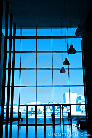 Silhouette at office building