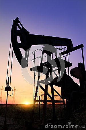 Silhouette of oil pump jacks