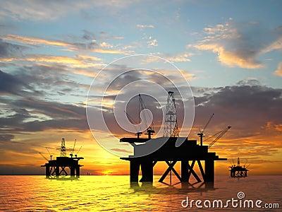 Silhouette oil rig