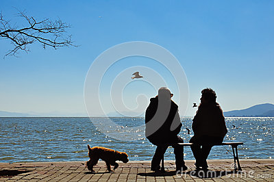 Silhouette of old couple sitting on bench before ocean Editorial Image