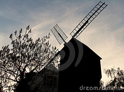 Silhouette of old windmill