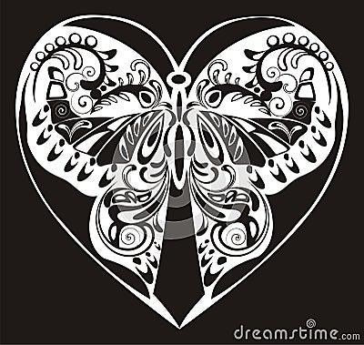 Silhouette ornamental butterfly
