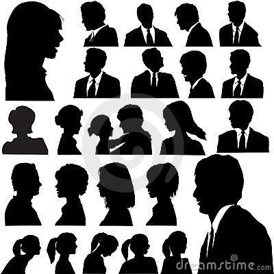 Free Silhouette People Portraits Heads Faces Stock Images - 5325454