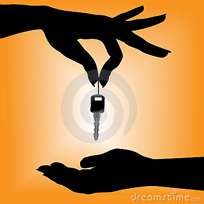 Free Silhouette Person Drops Car Key Into A Cupped Hand Stock Images - 6394284
