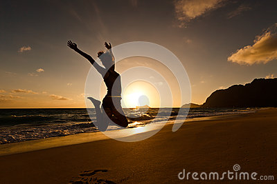 Silhouette of a Person Jumping