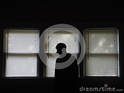 Silhouette Of A Person Standing Inside Unlit Dark Room Near Window Blinds Free Public Domain Cc0 Image