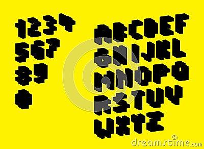 Silhouette pixel alphabet