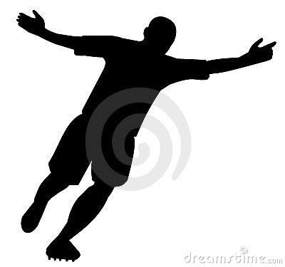 Silhouette of player celebrating the goal