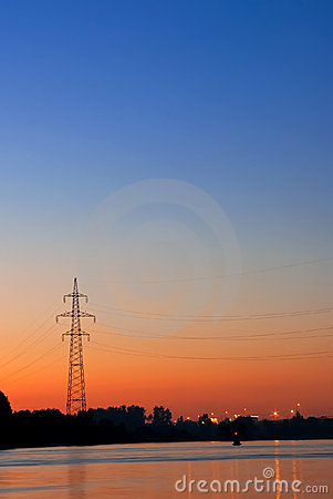 Silhouette of a power transmission line support