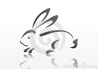 Silhouette of rabbit. symbol of 2011 year