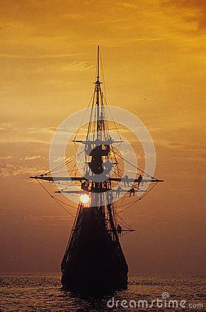 Silhouette of a replica of the Mayflower