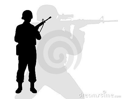 Silhouette of riflemen